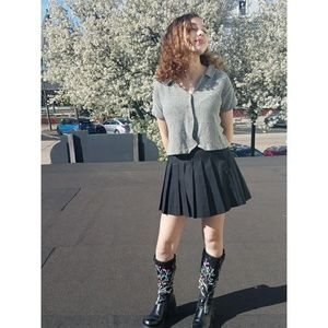 Vintage Black Pleated Tennis Skirt